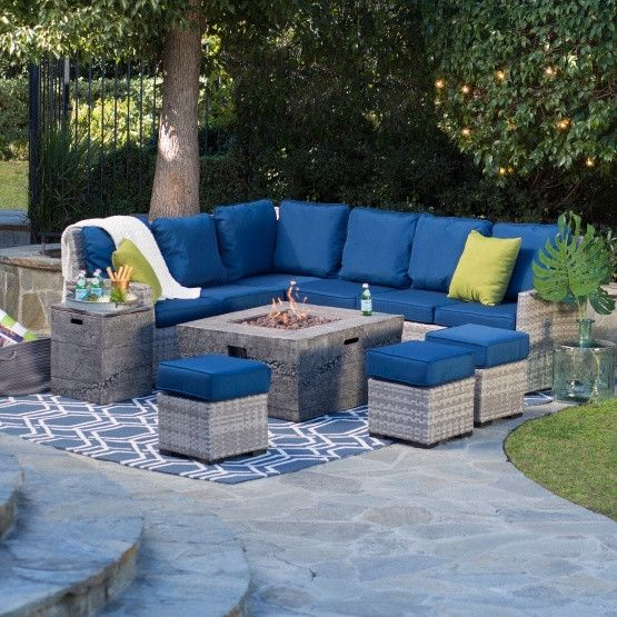 Belham Living Brookville All-Weather Wicker Fire Pit Chat Set with Glacier Fire Pit