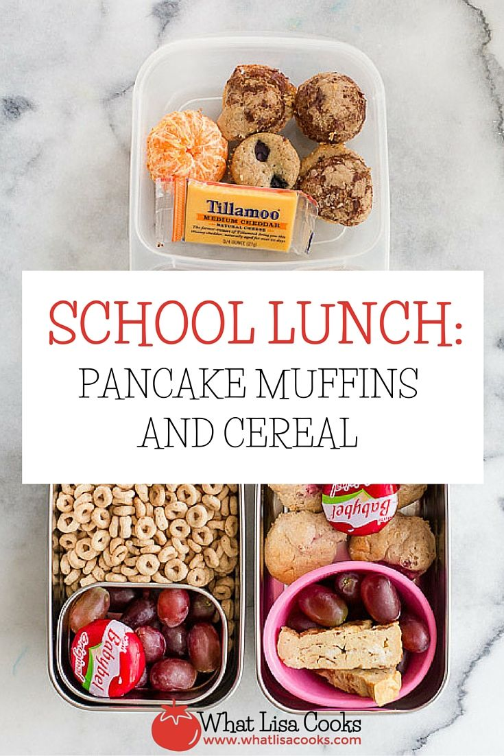 quick and easy idea for packing school lunches - muffins made from pancake batter, and cereal in a leak proof container, from WhatLisaCooks.com