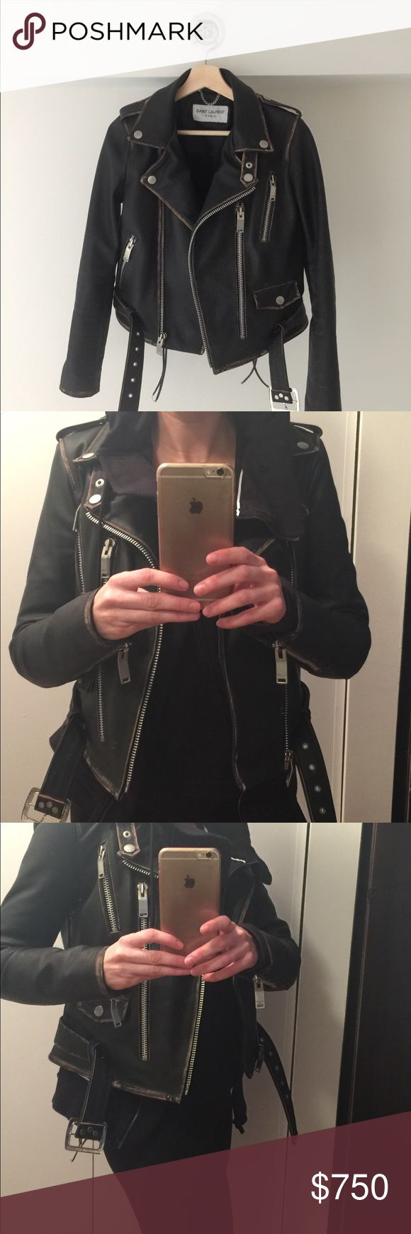Saint Laurent 100% Lambskin Leather Jacket $4950 Purchased at Saint Laurent Designer Sample Sale held at Soiffer Haskin, NYC for $2500. Similar style currently in YSL and Barney's for $4950. Beautiful 100% Lambskin with all Saint Laurent hardware. FR 36/ US 2. True to size. Score for an incredible price, it is unfortunately too small for me:( in beautiful condition, the jacket is meant to be roughed up and distressed further over time. Saint Laurent Jackets & Coats