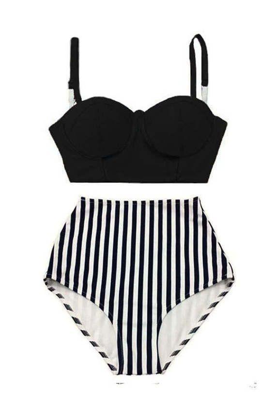 Women Womens Summer Retro Vintage Bikini Swimsuit Swimwear Bathing wear, Black Mid Midkni Top and Stripe High Waisted Waist Bottom S M L XL