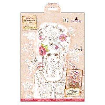 Santoro's Willow Colour Me In A4 Decoupage Pack - Santoro