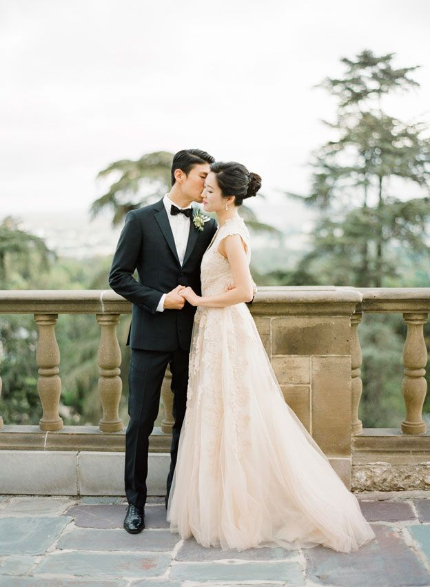 Blush Reem Acra Gown. A Timeless Beverly Hills Wedding at the Greystone Mansion - KT Merry Photography: