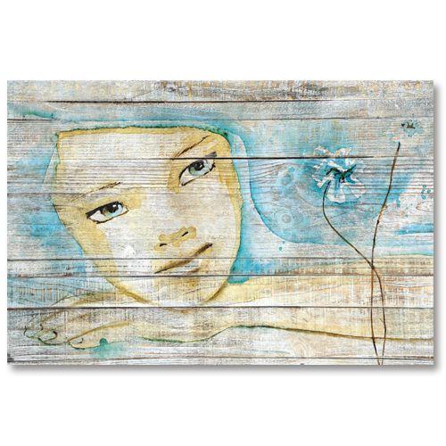 Tableau décoratif effet bois rêve de femme esquisse peinture
