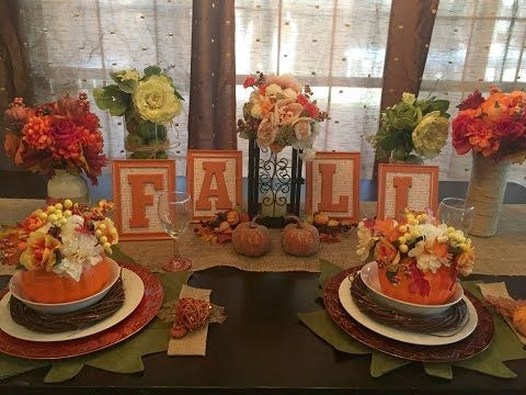 DOLLAR TREE Fall Floral Pumpkins Tablescape Set Up