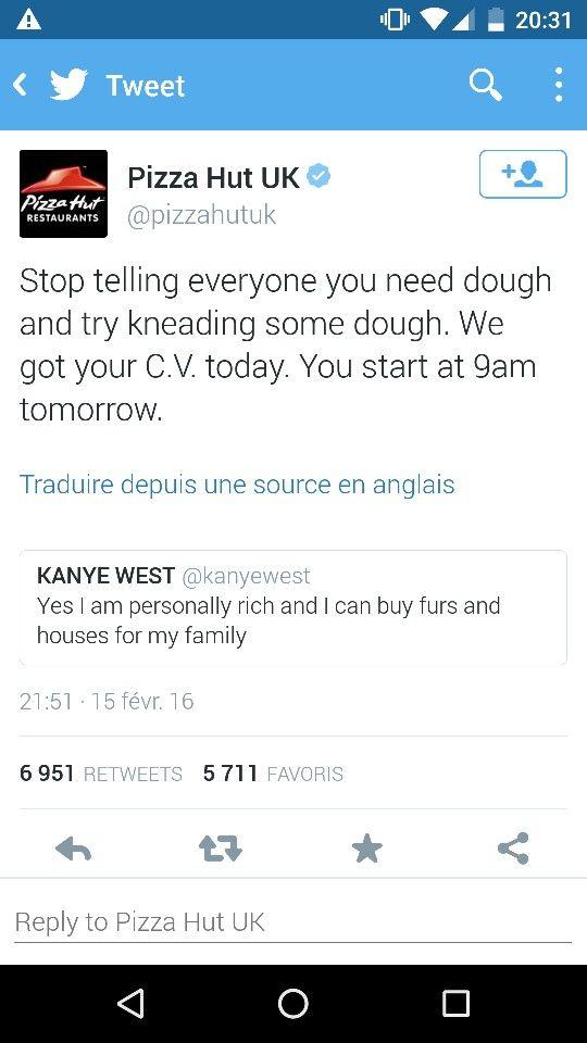 La réponse mémorable de Pizza Hut UK a Kanye West, sur ses difficultés financières. #CommunityManager #CommunityManagement