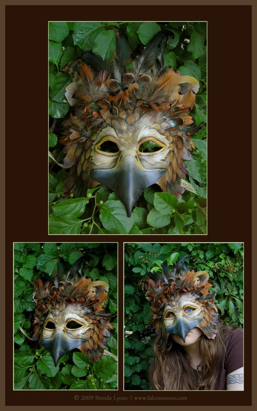 Iridescent Gryphon Leather and Feather Mask