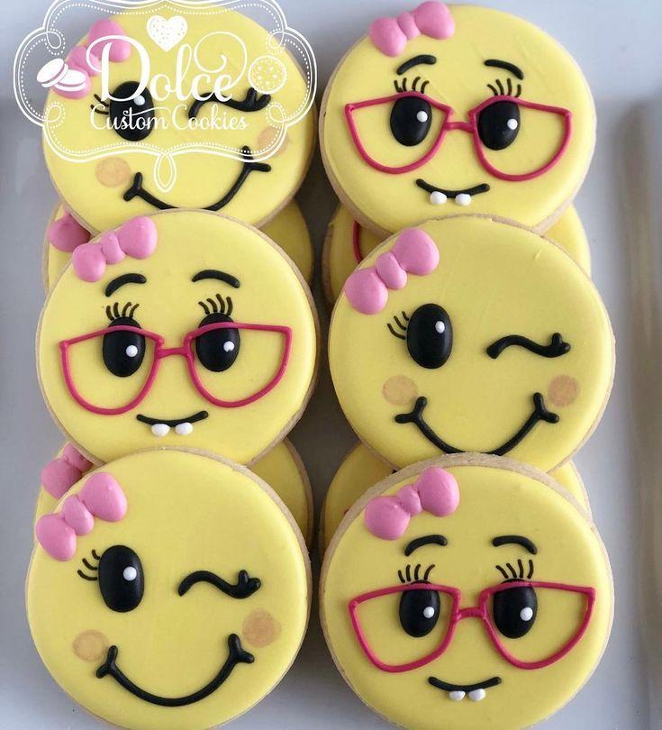 """Christy (@dolcecustomcookies) on Instagram: """"#girlyemojicookies #emojicookies #decoratedcookies #decoratedsugarcookies #sugarcookies…"""""""