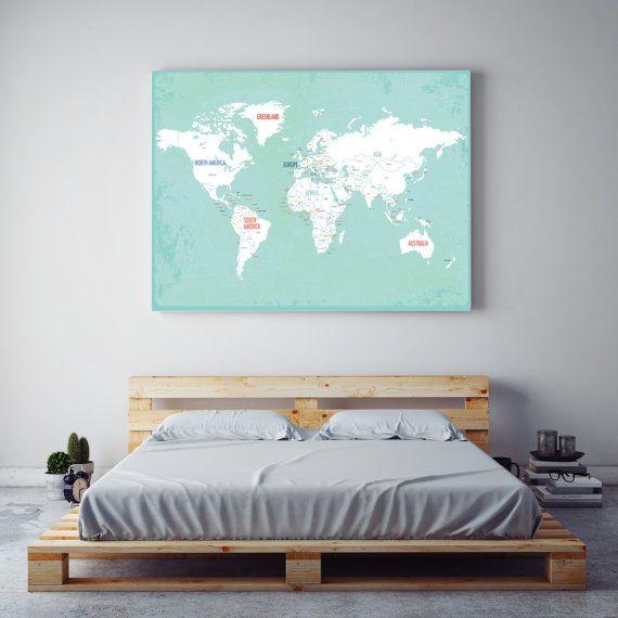Wereld kaart Wall Art reizen kaart, kaart van de wereld van het Canvas, reizen Decor, kinderkamer kunst aan de muur, bruiloft-gastenboek, Kid