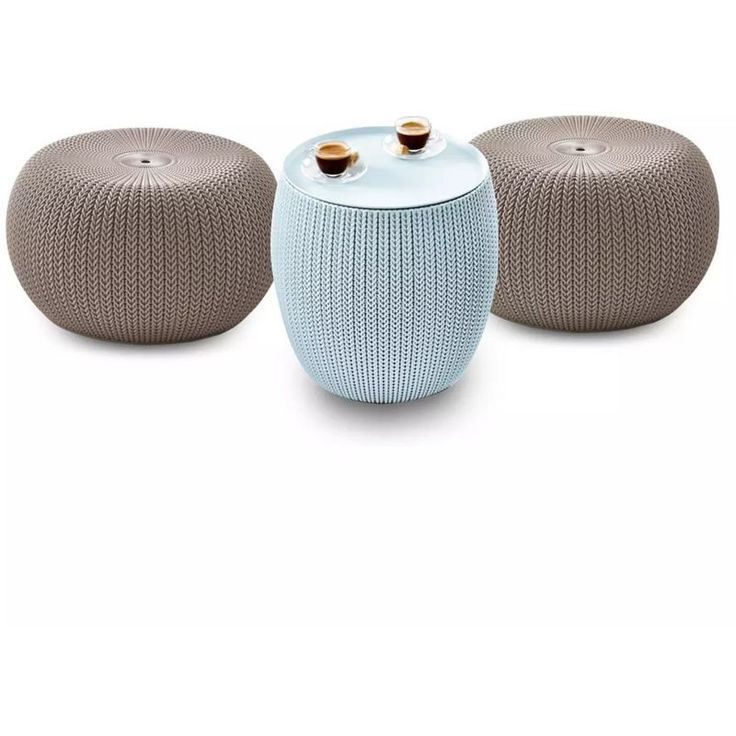 Keter Ensemble De Meuble De Jardin 3 Pcs Knit Beige Et Bleu Outdoor Decor Decor Outdoor Ottoman