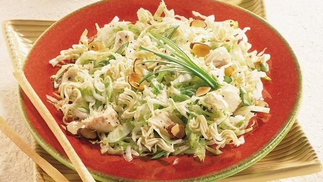 Light Asian Cabbage Salad Recipe -- I omit the chicken and it's still so good! Perfect summer salad!