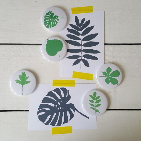 magneten voor koelkast en magneetbord met groene bladeren - € 9,75