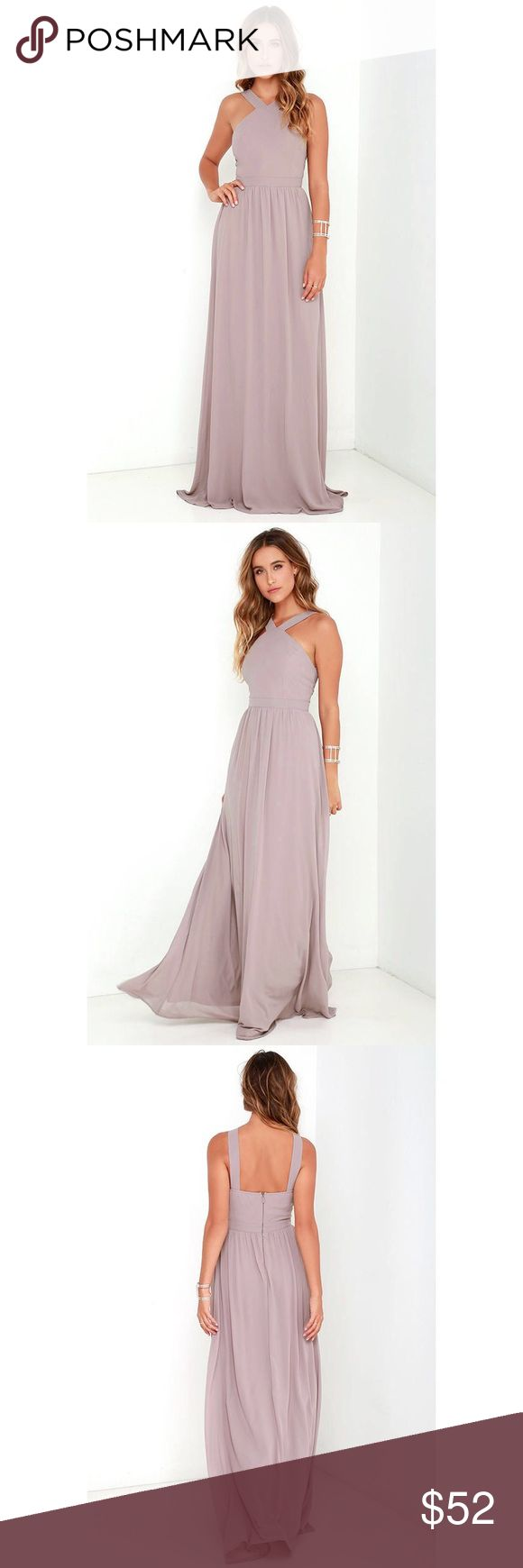 Lulu's Air of Romance / / Taupe Maxi Dress Never worn. New with tags / / More romantic than a candlelit dinner or a trip to the Eiffel Tower, the Air of Romance Taupe Maxi Dress will have you feeling the love! Lightweight Georgette falls from a modified halter neckline, into a seamed bodice supported by semi-sheer shoulder straps. A sweeping skirt cascades from a banded waist completing this elegant maxi dress. Hidden zipper with clasp. Fully lined. 100% polyester. Dry Clean only. Lulu's…