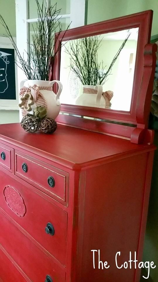 Beautiful Vintage Highboy Dresser With Mirror Painted In