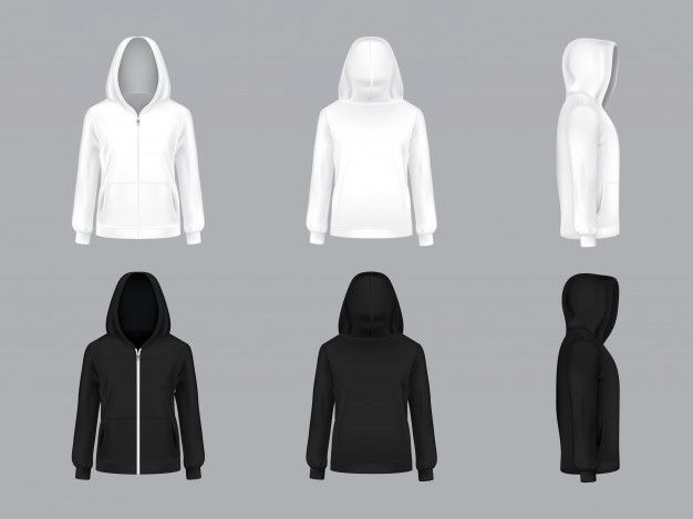 White And Black Hoodie With Long Sleeves And Pockets Front Back Side View Free Vector Black Hoodie Custom Hoodies T Shirt Design Template