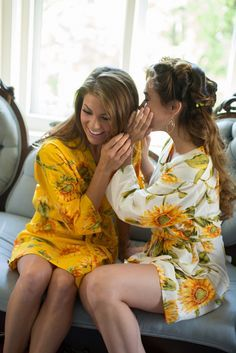 Robes by silkandmore - White Sunflower Robes for bridesmaids | Getting Ready Bridal Robes, $25 (http://robesbysilkandmore.com/white-sunflower-robes-for-bridesmaids-getting-ready-bridal-robes/)