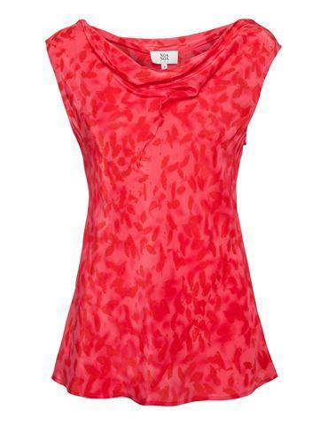 Top med bladmønster - Pink