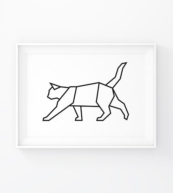 Geometric Cat, Origami Cat, Cat Wall Decal, Cat Prints, Cat Art, Geometric…