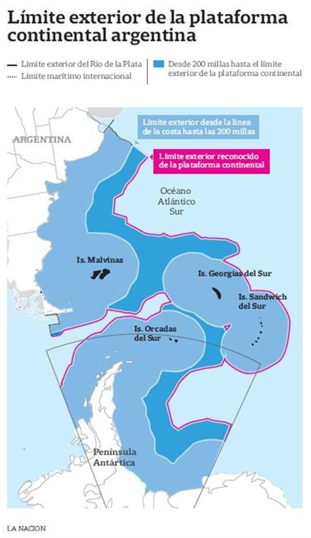El Gobierno presentará el límite de la Plataforma Continental y reafirmará así su reclamo por Malvinas  Límite exterior de la Plataforma Continental.