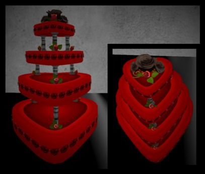 GOTH HEART SHAPED WEDDING CAKE