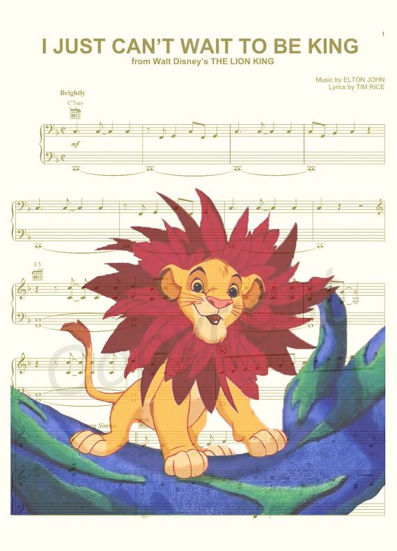 The Lion King I Just Can't Wait To Be King Sheet by AmourPrints