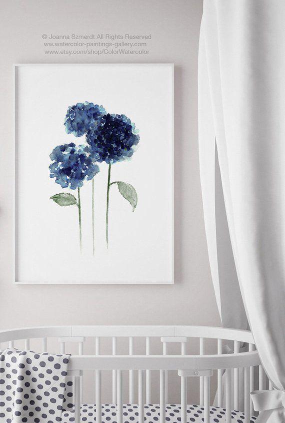 Hydrangea Art Print Floral Bouquet Aquarelle Peinture Fleurs