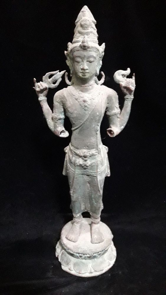 Spiritual Hindu God Wisnu Broken Hand Bronze Brass Statue Meditation Yoga Art
