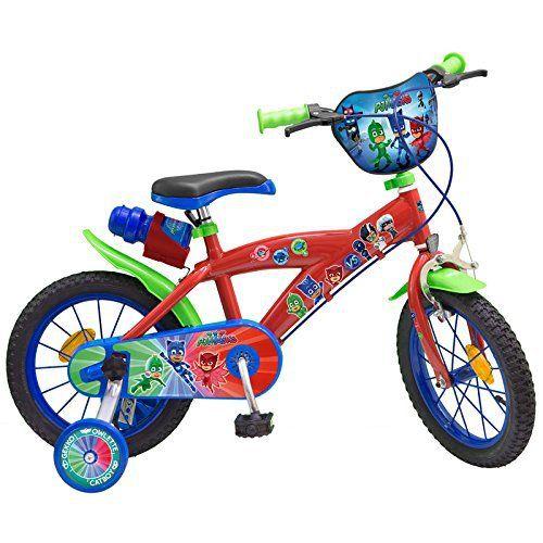 Bicicleta niño de 4 a 6 años de los PJ Masks Bicicleta con motivos de PJ Masks, Héroes en Pijama, con marco de acero, cuenta con freno de contrapedal, guardabarros delantero y trasero, Asiento regulable en altura, con 2ruedas traseras, freno delantero, 1botella.