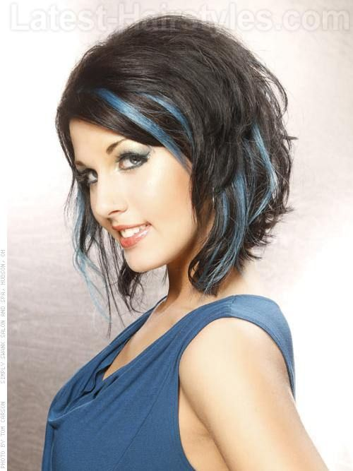 Peek A Blues Brunette Style with Blue Highlights Side View