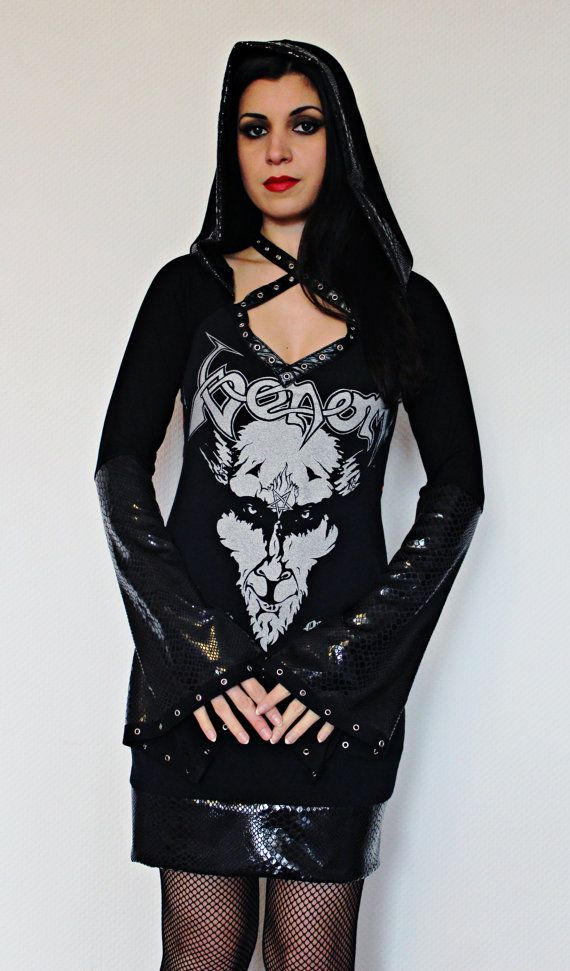 Venom Hoodie Mini Dress Black metal clothing alternative apparel reconstructed altered band shirt satanic witchy hooded dress