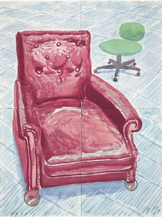 David Hockney (British, b. 1937), Red Leather Chair, 2003. Watercolour on four joined paper sheets, 121.5 x 91.5 cm.