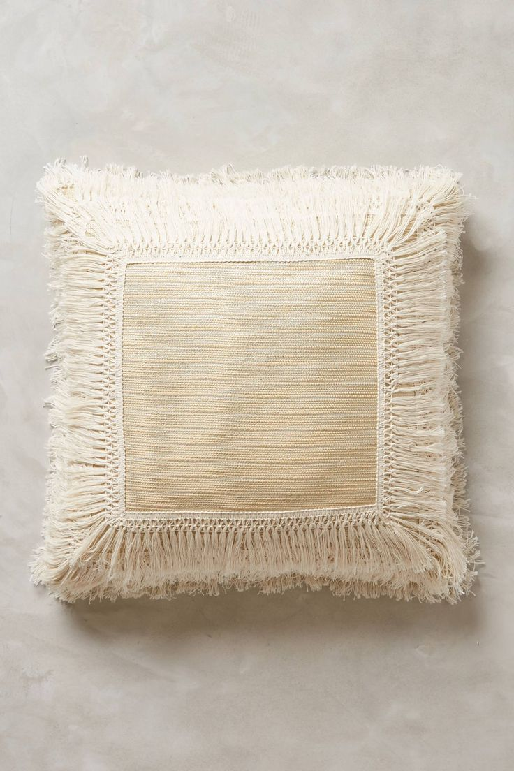 Fringed Ivory Pillow - anthropologie.com