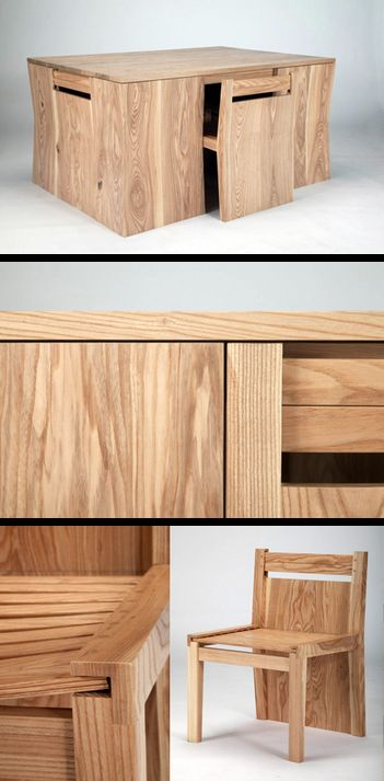 Hidden Chairs Dining Table  Modern Furniture  Pinterest  Dining ...