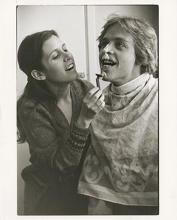Helping Hand. An image from Carrie Fisher's private photo collection taken during the filming of Star Wars (Carrie Fisher and Mark Hammil)