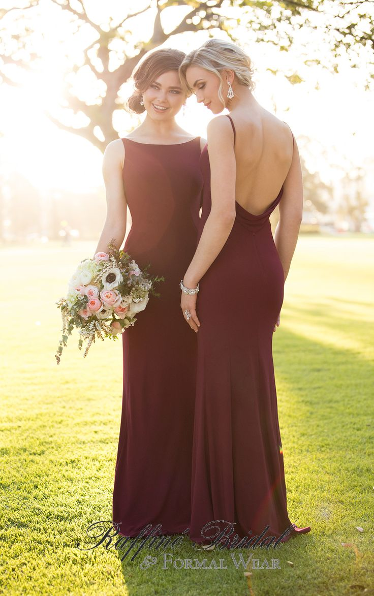 Sorella Vita #8880 - This bridesmaid style features a high neckline and sheath modest fit. In contrast, the back is open with its plunging cowl detail.