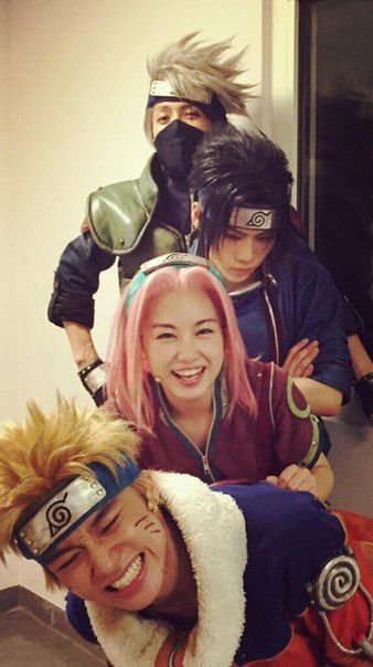I love them for posing like this, they're amazing, cosplayers, performers and singers | NARUTO Live Show at Malaysia 2015 #naruto #cosplay