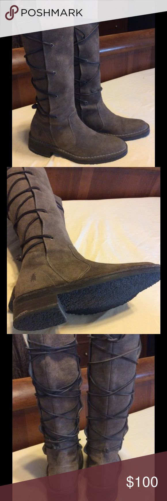Fly of London Brown Suede Boots Fly of London brown suede lace up boots.  Size 7 1/2 in like new condition Fly London Shoes Lace Up Boots
