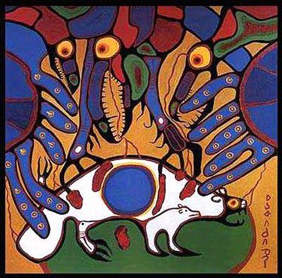 >>> Norval Morrisseau Facts, Articles & Art: Onaman Legend - Norval Morrisseau - 1978