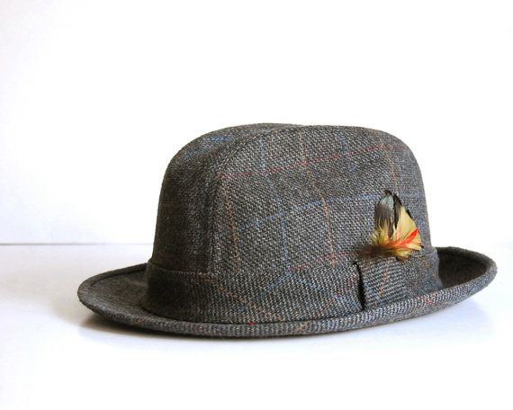 Vintage Hat Stetson Fedora Mens Wool Plaid Large by CalloohCallay, $40.00