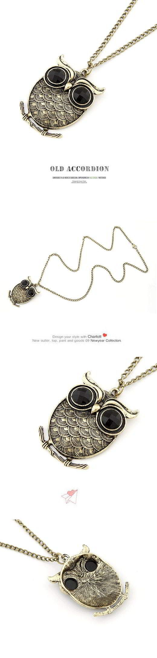 Korean Exquisite Vintage Fashion Squama OWL Pendant Charm Sweater Chain General Small and catchy. REPIN if you like it. Only 22 IDR