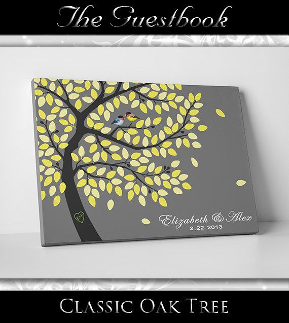 Wedding Guest Tree Book - Wedding Guest Book Alternative - Wedding Shower Decor - 24x36 - 250 Signatures - Gallery Wrapped Canvas