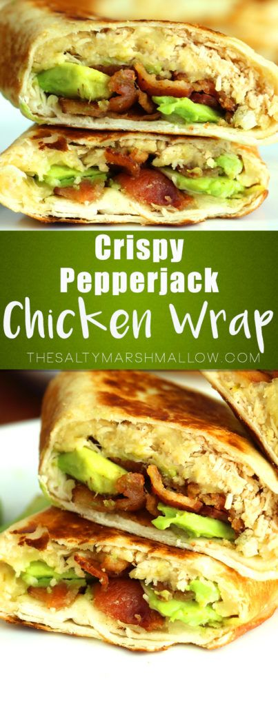 Crispy chicken wrap with spicy pepper jack, bacon, and avocado