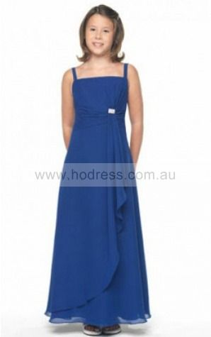 Chiffon Spaghetti Straps Empire A-line Ankle-length Bridesmaid Dresses 0740137--Hodress