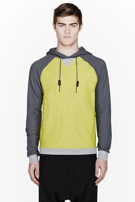 Slvr Grey And Yellow Coated Cotton Hoodie