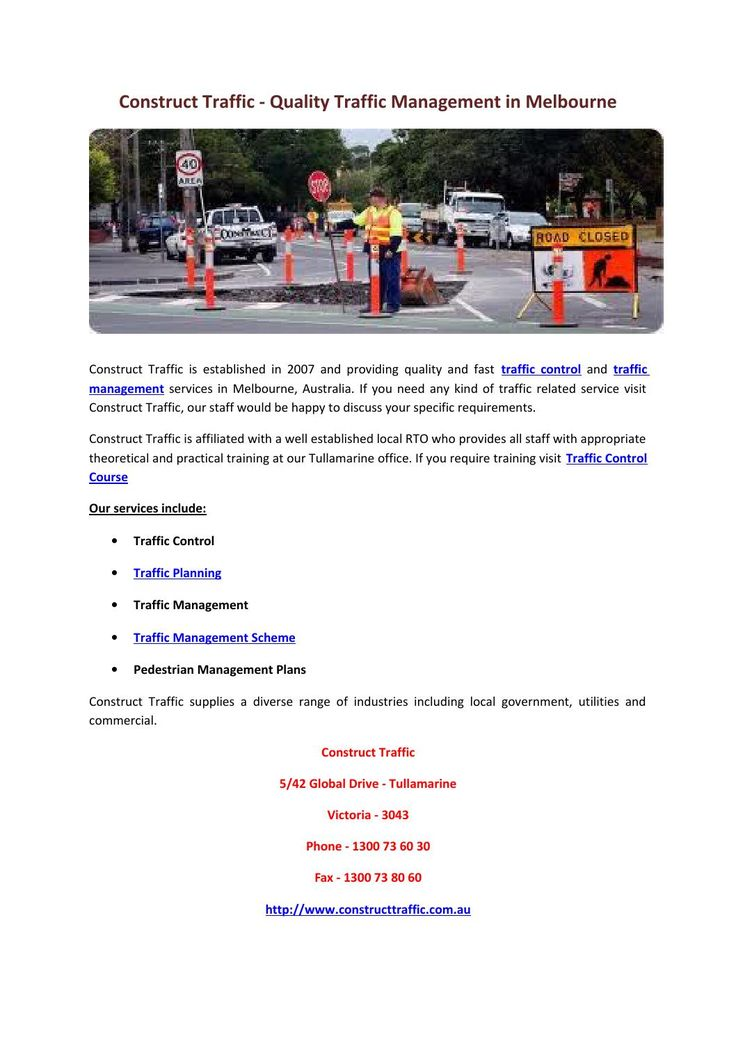 Construct traffic quality traffic management in melbourne