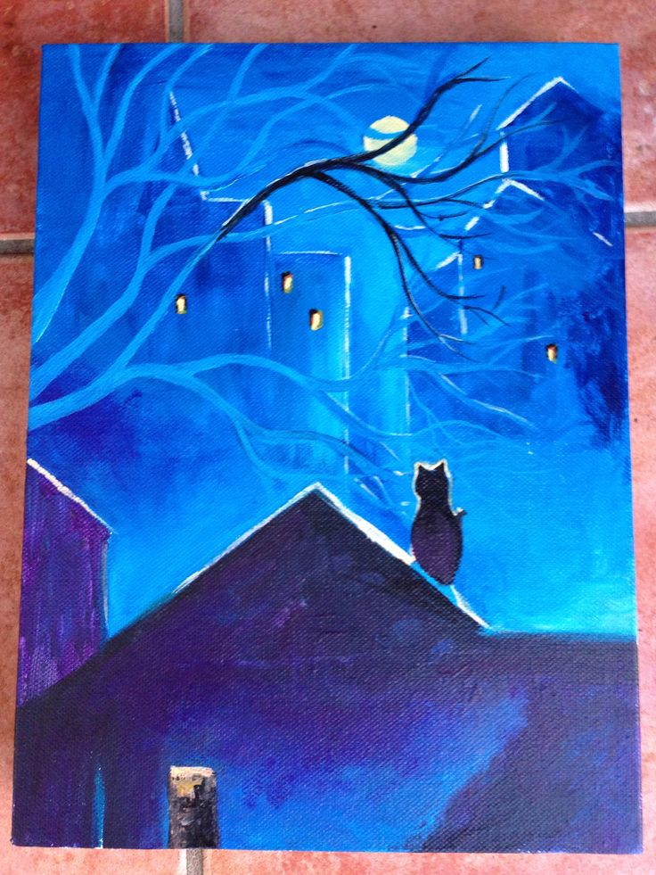Night time ecstasy. Fiona Luna. Acrylic on canvas. Cat on a roof at night. In style of Oksana Sulimova.