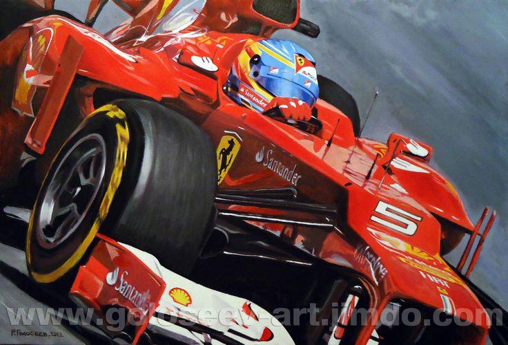 """Fernando Alonso Ferrari F2012"", 31h46 cm, oil on canvas, 20.10.2012 ""Фернандо Алонсо Ferrari F2012"", 31х46 см, холст,масло, 20.10.2012"