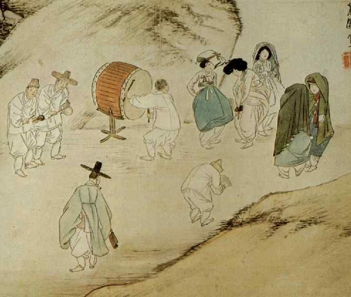 Korean Traditional art by Shin Yun-bok: Monks asking for alms on the street 노상탁발 (路上托鉢)