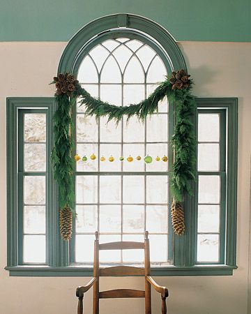 diy pine cone rosette garland...maybe use with my rag garland instead of evergreen?