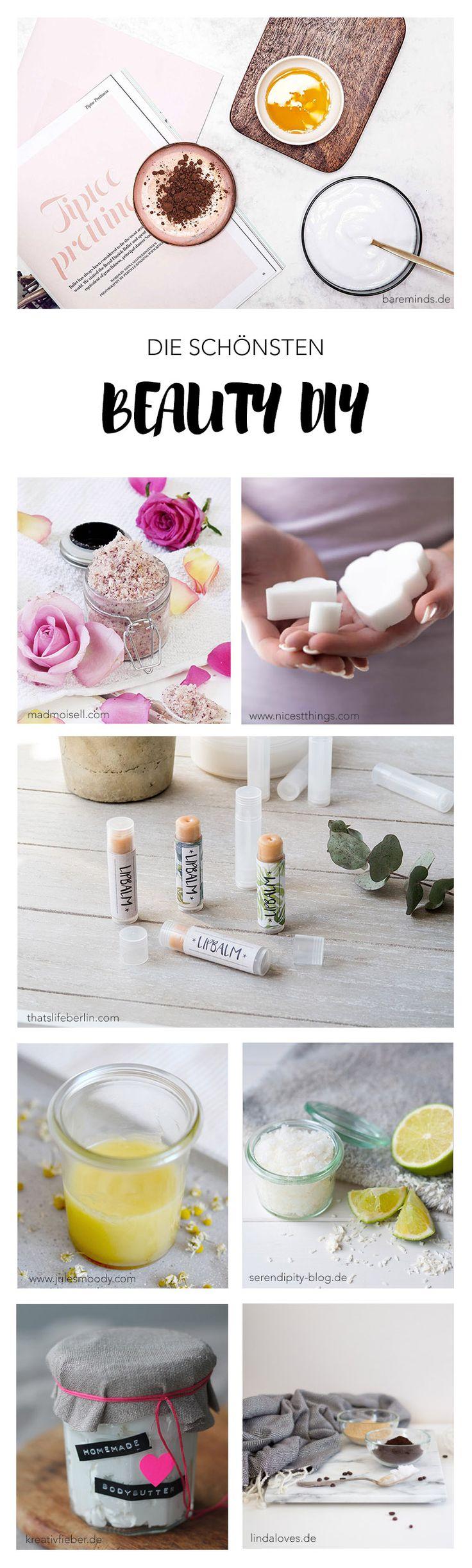 Die schönsten Ideen für Beauty DIYs um Kosmetik selber zu machen wie Peeling, Bodybutter, Gesichtsmasken, Seifen und noch viel mehr ... l