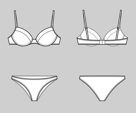 f858cbc136 Bra and underwear vector fashion flat sketch